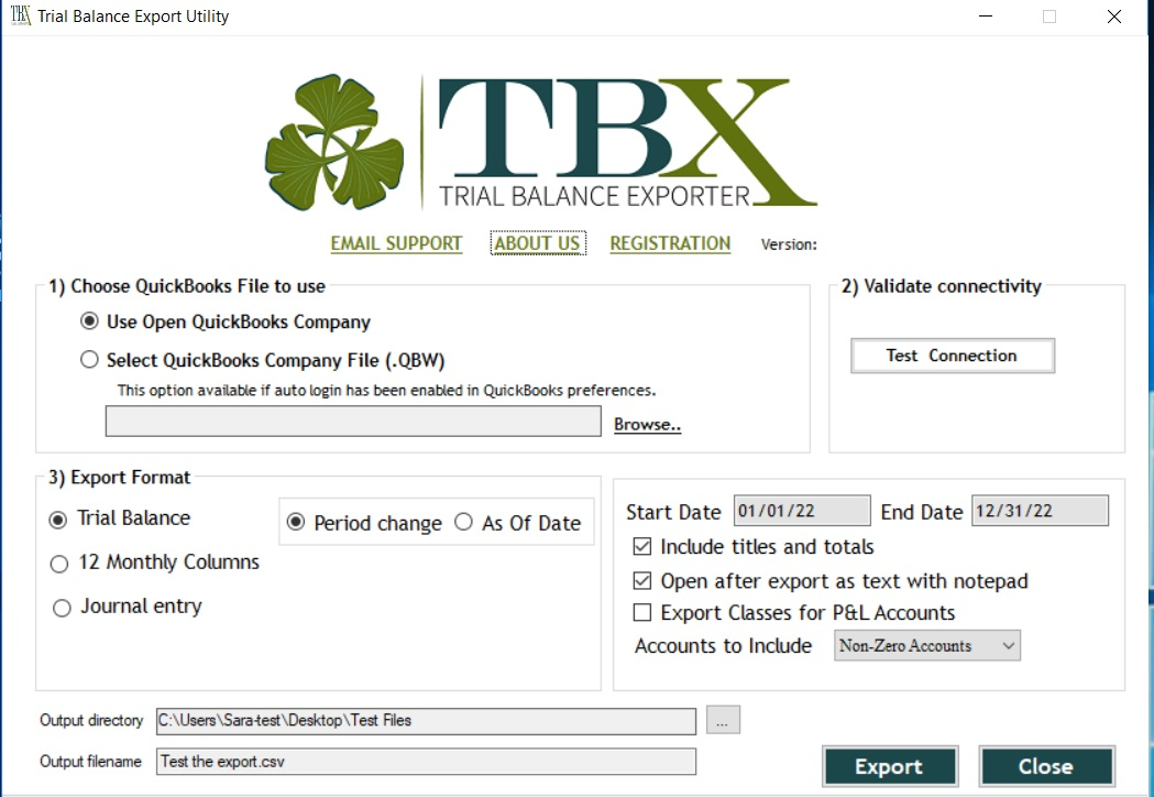 TBX Trial Balance Exporter by Accounting Services Bureau Inc
