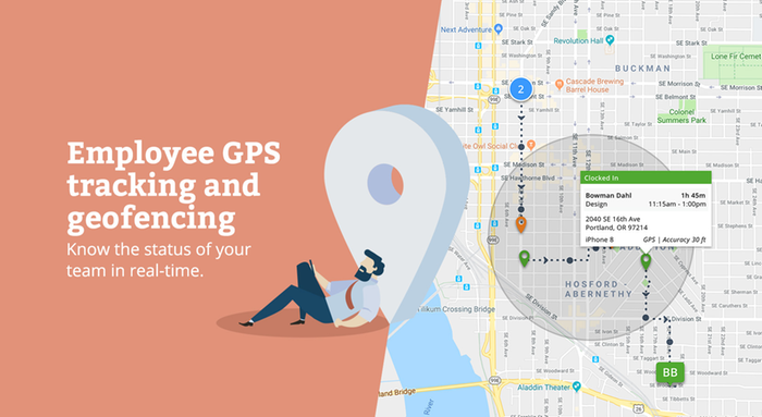 GPS time tracking with geofencing