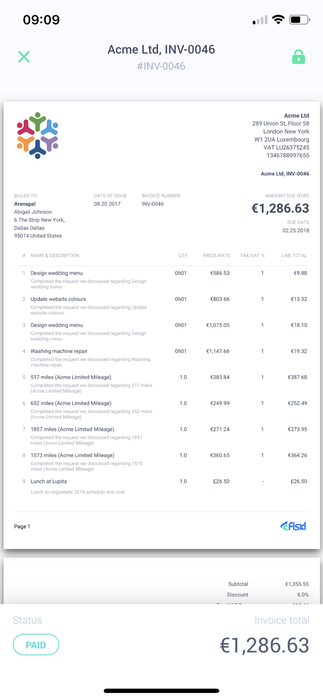 Mobile and web invoicing