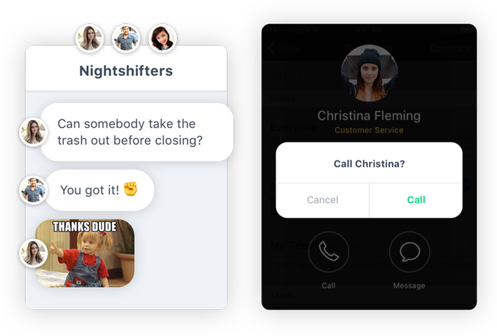 Group, Team and Direct Chat and In-App Calls