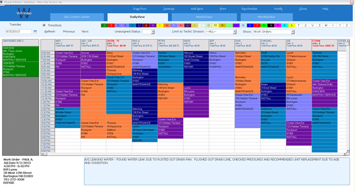 Scheduling, Dispatching and  Work Order Management