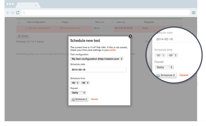 Test scheduling and automation with Load Impact
