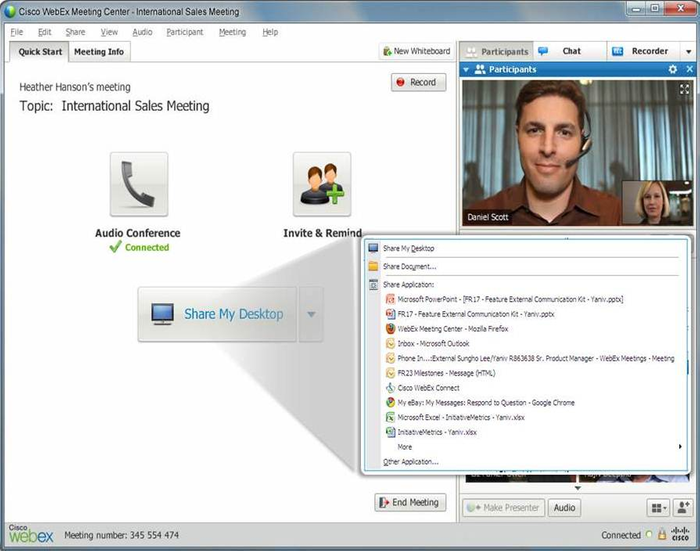 Document, Application, and Desktop Sharing